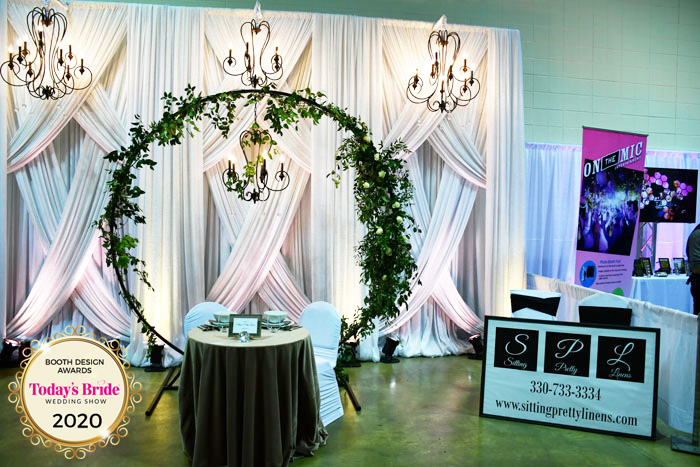 Sitting Pretty Linens Bridal Show Booth | As seen on TodaysBride.com